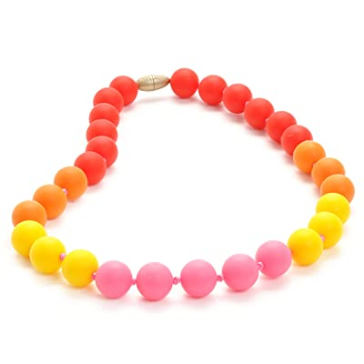 Juniorbeads by Chewbeads Bleecker Jr. Necklace, 100% Safe Silicone - Punchy Pink : Baby Teether Toys : Baby