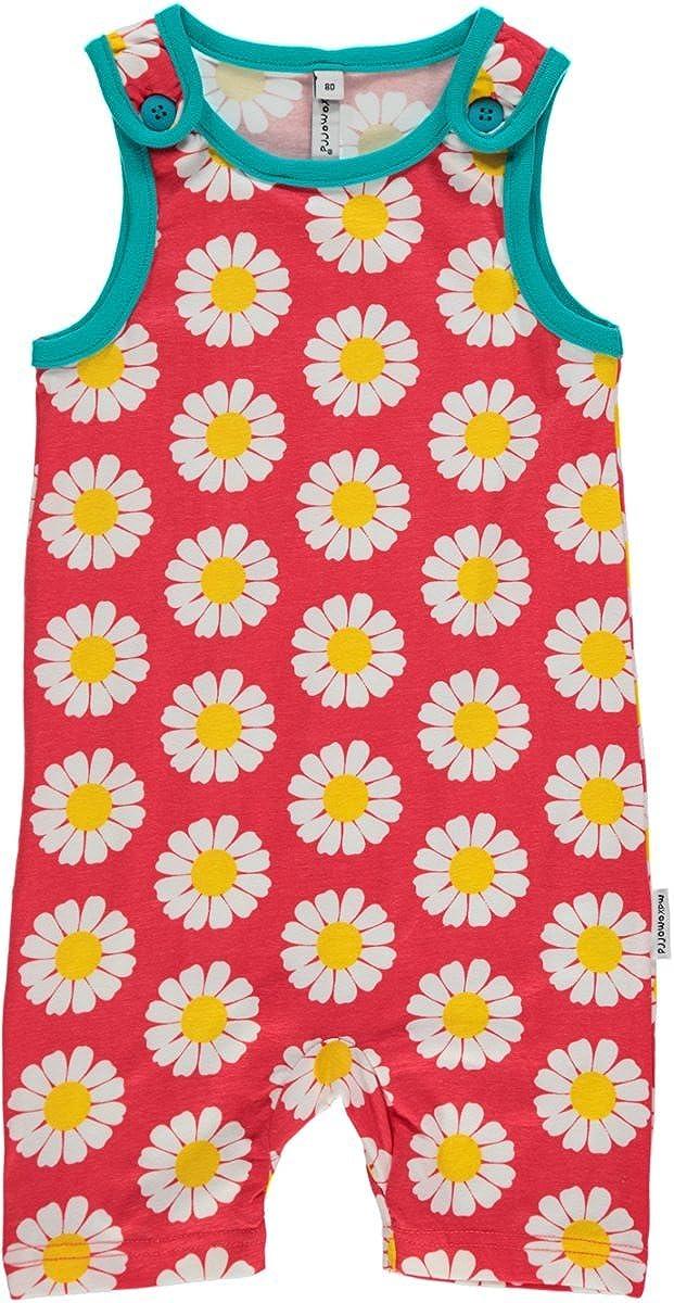 MAXOMORRA Baby Mädchen Spieler Ärmellos Pink Gänseblümchen Blume BioBaumwolle GOTS SU6B-M089-D1055-Q02