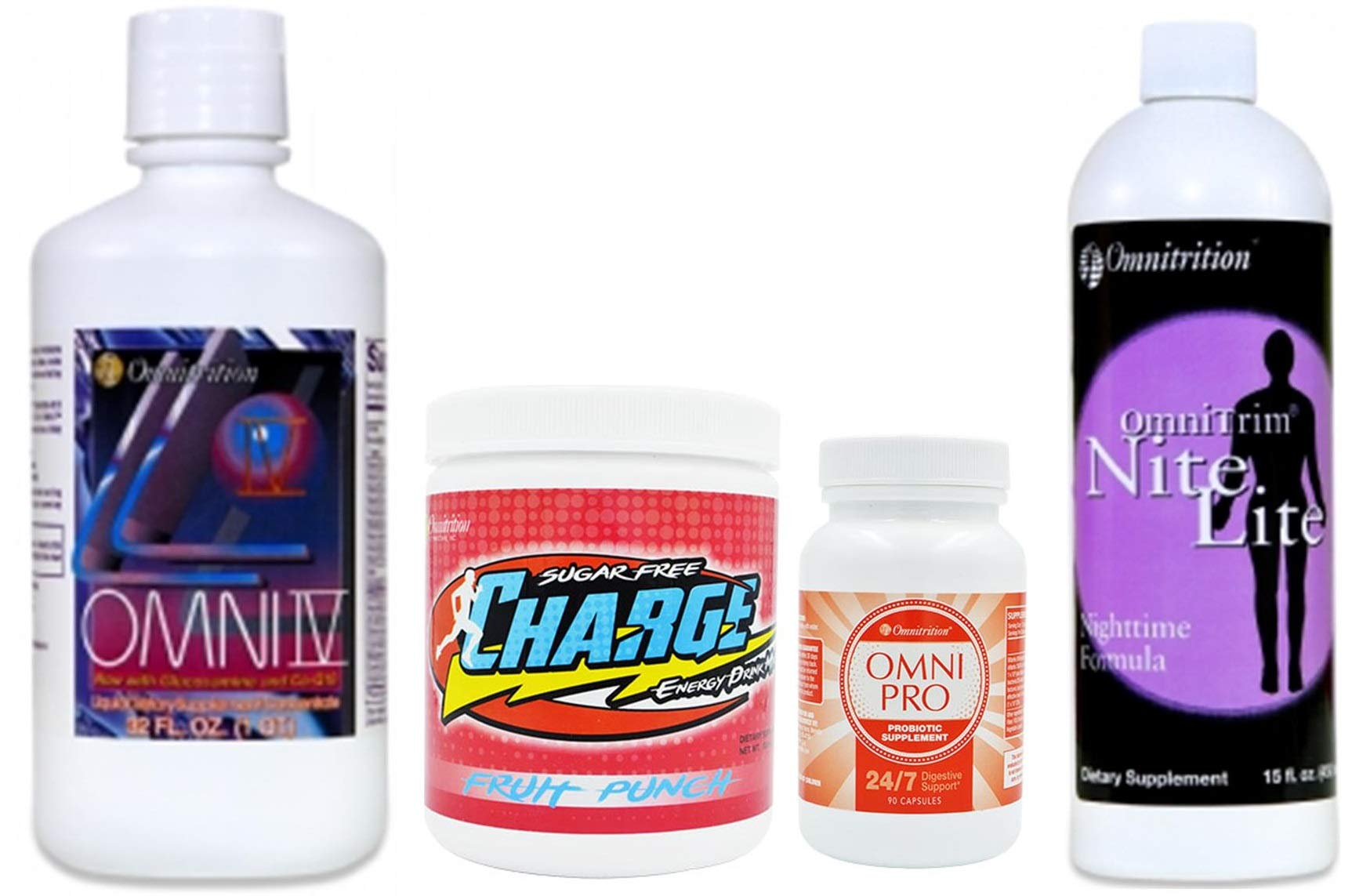Omnitrition Bundle *Core 4* (Includes: Omni IV w/Glucosamine, OmniTrim Nite Lite, Omni Sugar Free Fruit Punch Charge and Omni Pro) by Generic