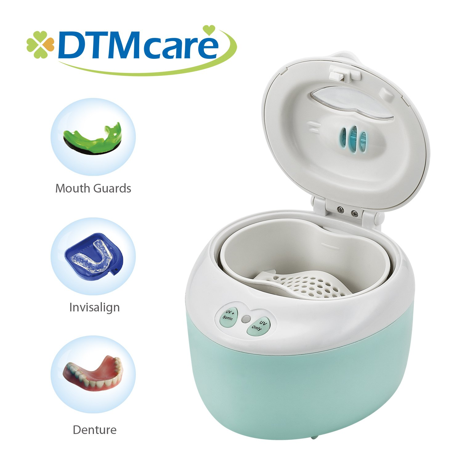DTMCare Denture, Dental Cleaner UV (Blue color) Ultrasonic Sterilization for Denture, Mouth Guard, Invisalign, Retainer. Snore Guard Sleep Retainer. FDA Registered/CE Medical Approved. by DTMCare DigiMax UP-321