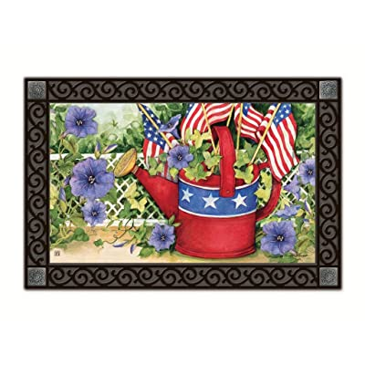 Magnet Works MatMates Doormat - Patriotic Watering Can 11503 : Garden & Outdoor