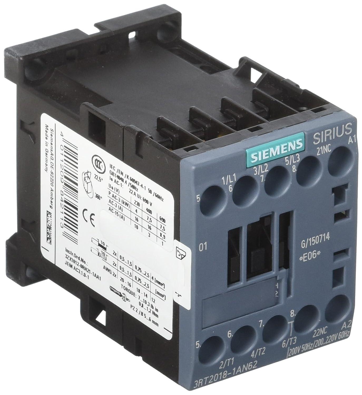 SZ S00 Screw Terminal Siemens 3RT20181AN62 CONTACTOR 1NC 200.220V 60HZ 3-Pole 7.5KW//400V AC 200V 50HZ
