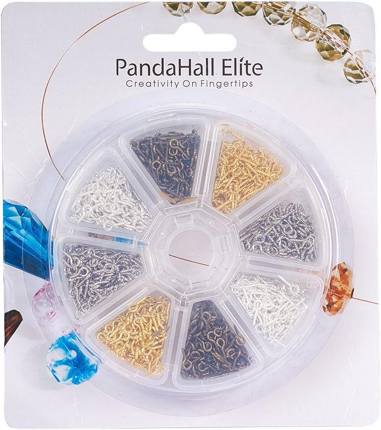PandaHall Elite 1 Scatola 900PCS Ciondoli Perline Connettore Vite Screw Eye Pin in Ferro Colore Argento 8mm
