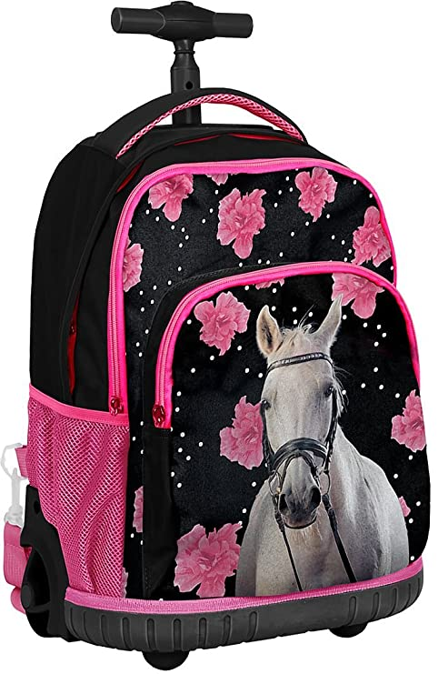 3a4a2107d7 Paso Flowers and White Horse Cavallo Zaino con Ruote Trolley Ragazza Scuola  Media, Elementare