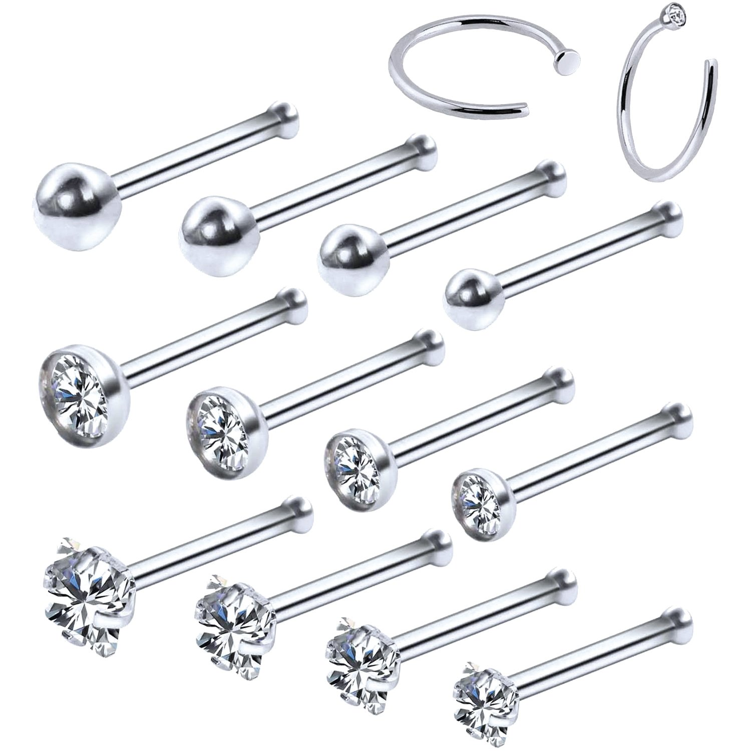 BodyJ4You 14PC Nose Hoop Rings 20G Stainless Steel Silvertone Nose Pin Bone Studs Piercing Jewelry (0.8mm)