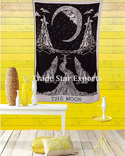 Indian Wall Hanging, Crying Wolf Tapestry, Moon Wall Art, Bohemian Bedding  Twin,