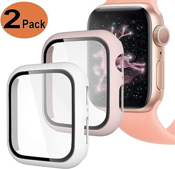 Imagen deUpeak Compatible con Apple Watch Series 4/5 40mm Funda con Vidrio Templado, 2 Piezas Caja Protectora para Mujeres Hombres Compatible con iWatch 4 5, Mate Rosa/Blanco