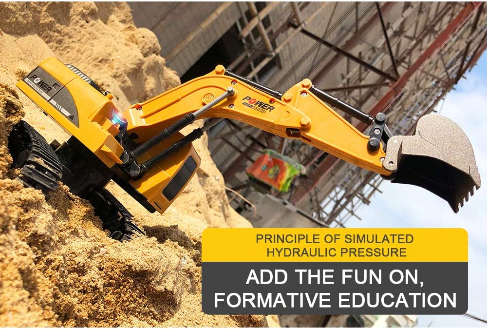 Crawler Excavator Toy with LED Light RC Construction Vehicle Crawler Excavator Toy for Children Gift Remote Control Excavator Excavator