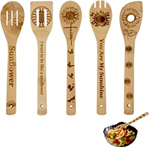 Sunflower Wooden Cooking Spoons Set of 5,Sunflower Kitchen Gift, Sunflower Spoon Set,Bamboo Cooking Spoons Housewarming Wedding Birthday Mom Cooking Anniversary Kitchen Decor