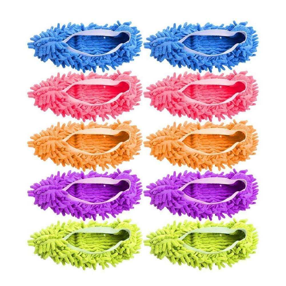 Dusting Mop Slippers Washable Dust Mop Slippers Shoes Cover Microfiber Dust Floor Cleaner for Bathroom Kitchen House Cleaning 10 PCS (5 Pairs)