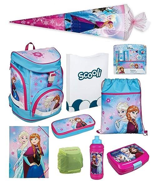 Familando Frozen Mädchen Schulranzen-Set 17 TLG. Scooli Twixter Up Schulrucksack Disney Die Eiskönigin ELSA und Anna mit Schu