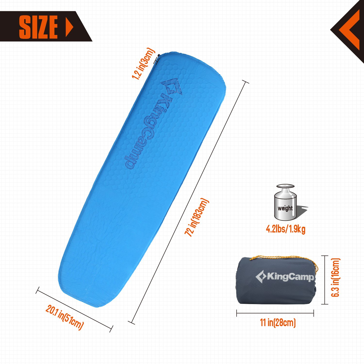 KingCamp Sleeping Pad Self Inflating Lighweight Foam Padding Compact Foldable Insulated Mat Damp-Proof Durable for Backpacking Camping Hiking