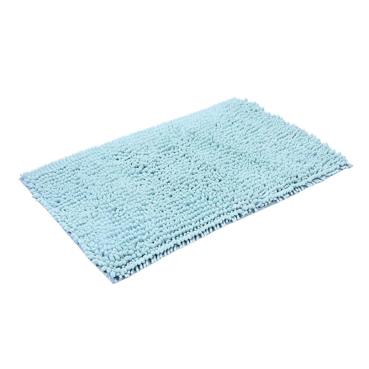 Chenille Non Slip Microfiber Shaggy Bath tub Rugs Bathroom Rug Toilet Rug Shower Room Rugs (19.6 by 31.5, Blue ) BR