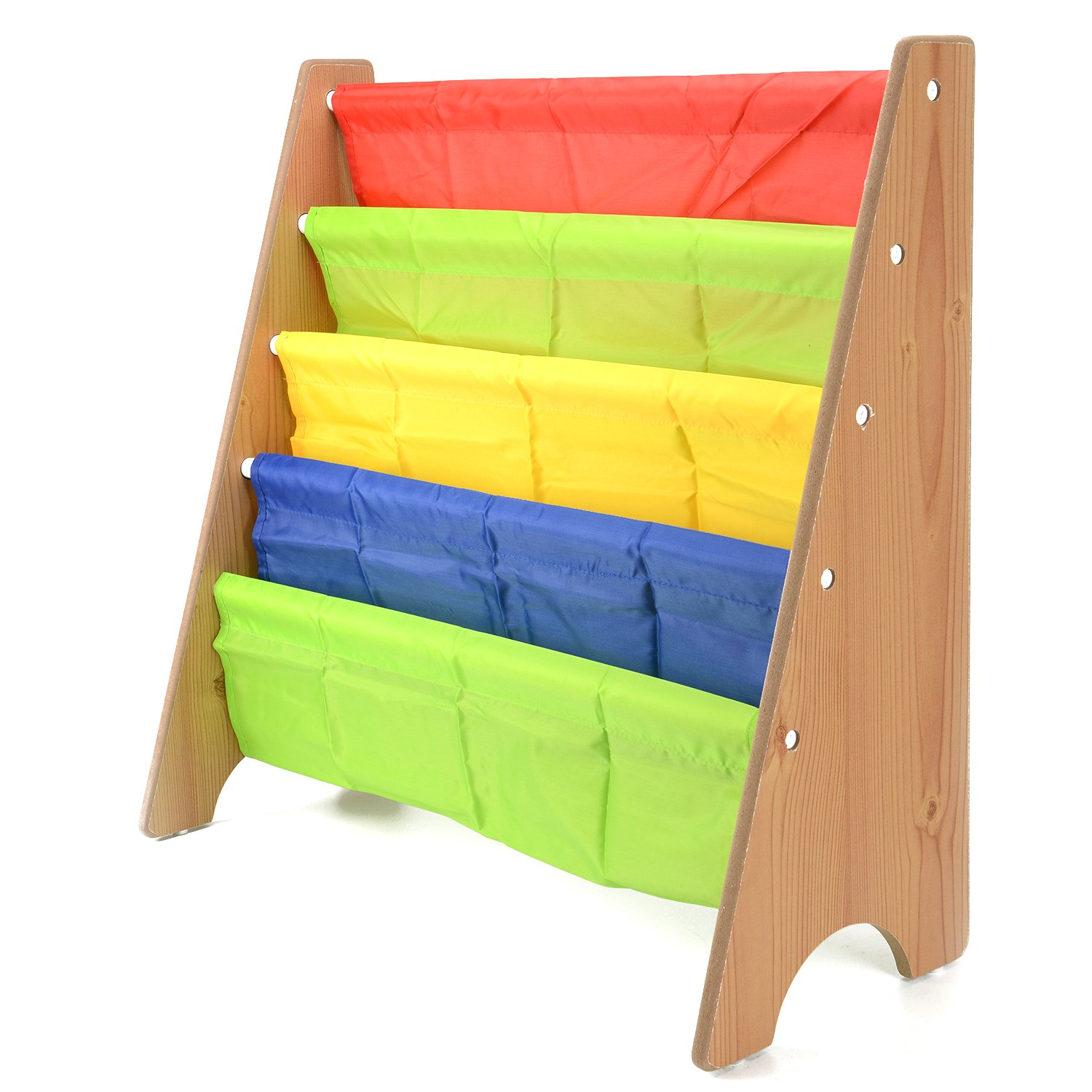 AllRight Kids Fun Book Shelf Bookcases Colourful Wood Sling Book Display Storage Rack for Children Bedroom Black oem