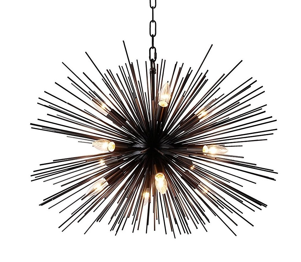 Decomust 28 Inch Astra Sputnik Satellite Pendant Light, Spike Ceiling Light Fixture, Pendant Chandelier (Black)