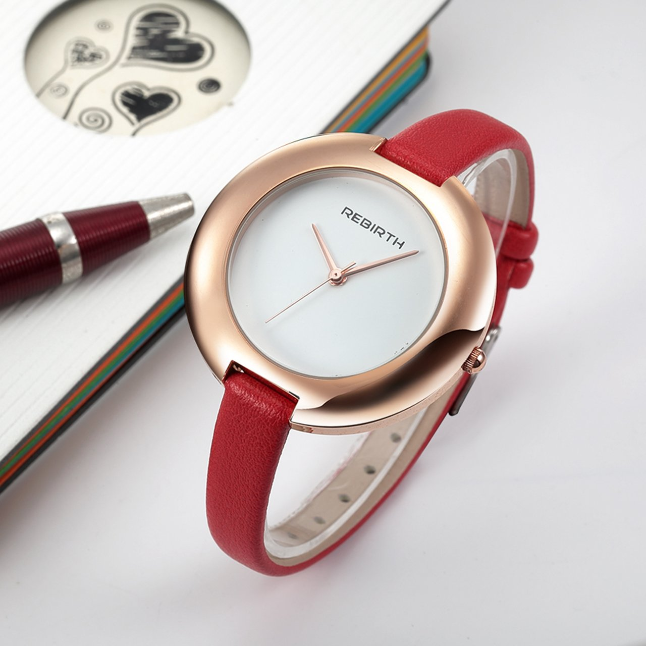Top Plaza Ladies Red Fashion Big Face Watch Analog Quartz Thin PU Leather Blank Space Dial Daily Waterproof by Top Plaza (Image #4)