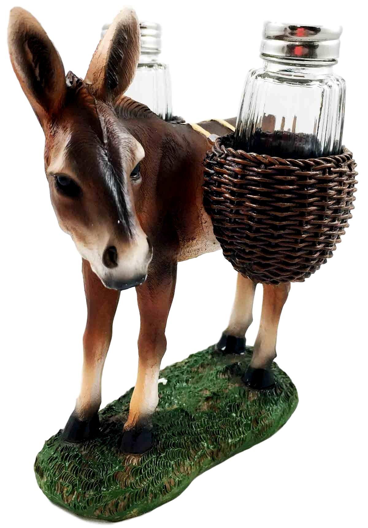 Animal Farm Donkey Carrying Saddlebags Of Spice Figurine Salt Pepper Shakers Holder Kitchen Decor Centerpiece Farmers Animal Lovers
