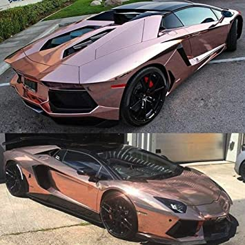 Chrome Car Wrap >> Amazon Com Premium Rose Gold Chrome Stretchable Chrome Vinyl Car