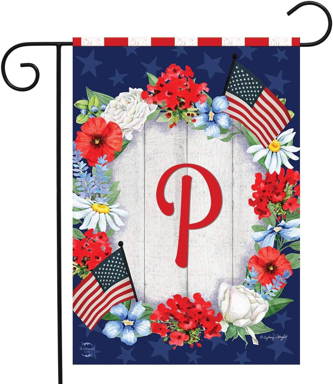 "Briarwood Lane Patriotic Monogram Letter P Garden Flag Floral Wreath 12.5"" x 18"""