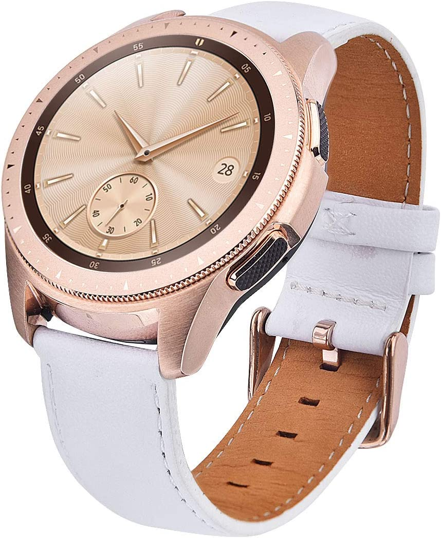 Compatible With Galaxy Watch 42mm Band /Galaxy Watch 3 41mm/Galaxy Watch Active 40mm/Active2 44mm Bands,TOROTOP 20MM Genuine Leather Strap Replacement Band Strap Band Rose Gold