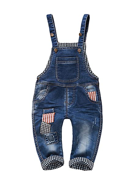 2611f9ff0 Image Unavailable. Image not available for. Color: Kidscool Baby Boys/Girls  Plaid Lining Big Bib Front Denim Overalls