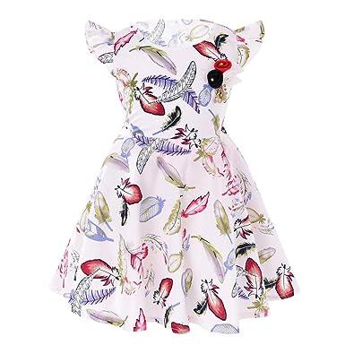 0a45aaa133df Longra Mädchen Kleider Kinder Kleider Kurzarm Sommerkleider mit Feder  Drucken Vintage Retro Kleid Blumen Kleid Festliche