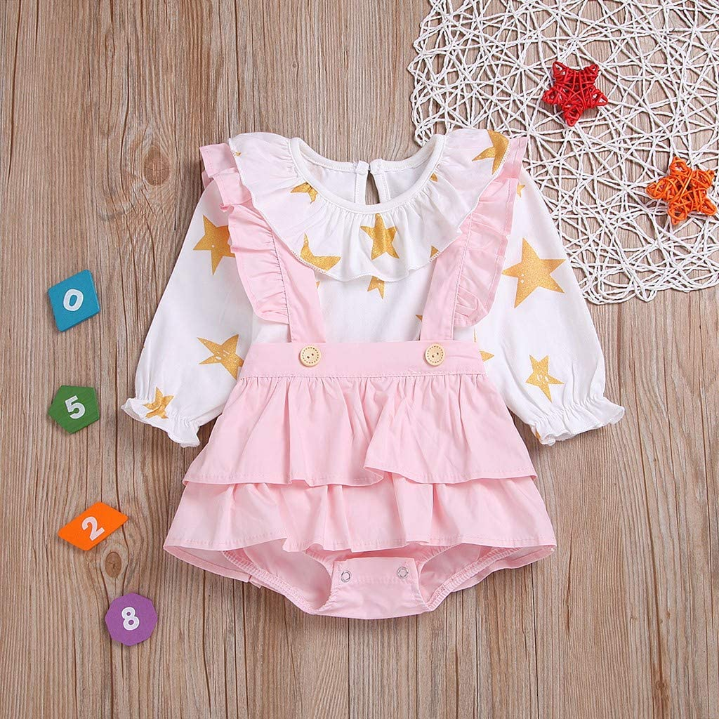 2pcs Toddler Baby Girls Star Print Tops Ruched Solid Pants Outfits by Vinjeely