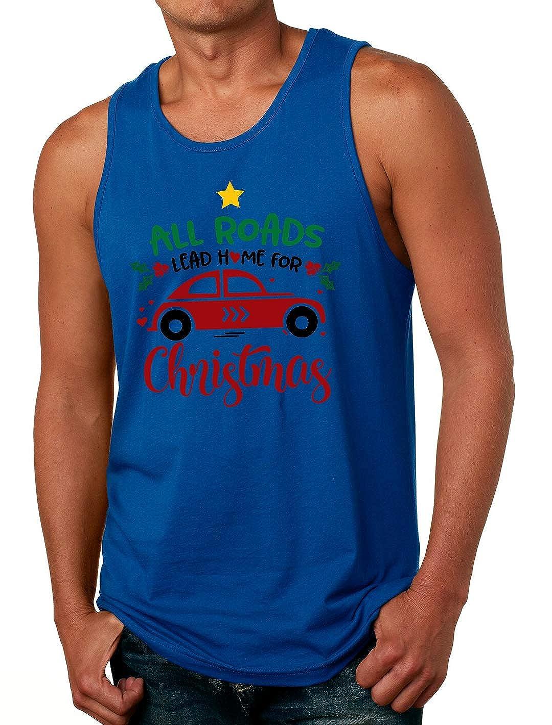 Tenacitee Mens All Roads Lead Home for Christmas T-Shirt