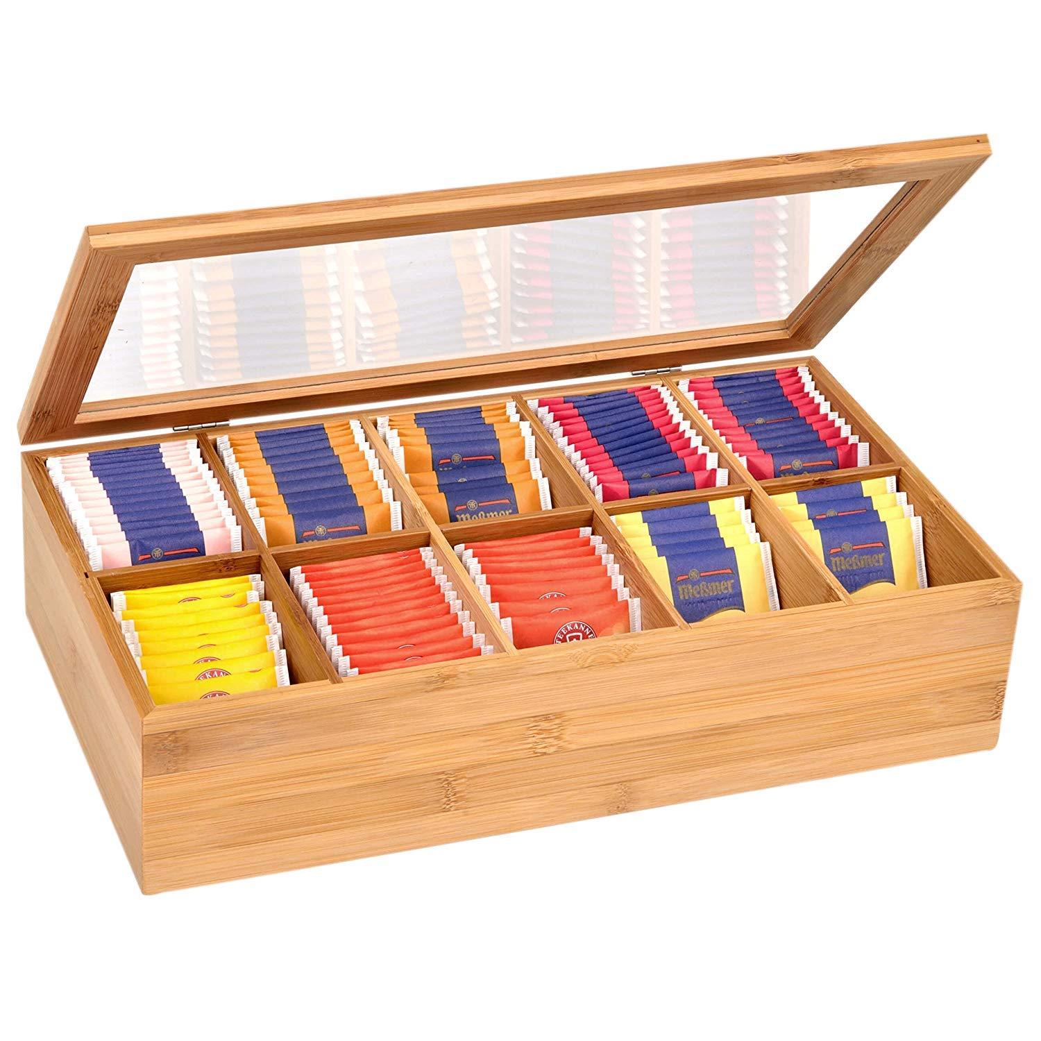 Bamboo Tea Storage Box Tea Bag Organizer or Kitchen Condiment Holder Perfect for Tea Lovers Countertop (14.5'' x 8'' x 4'') by Royal Brands