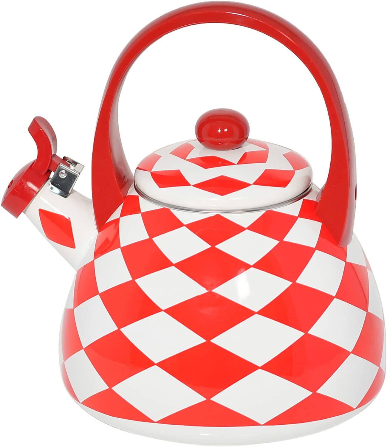 HOME-X Red Checkered Whistling Tea Kettle, Cute Animal Teapot, Kitchen Accessories and Decor