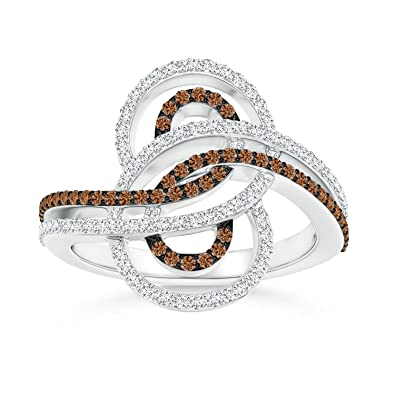 Angara Brown and White Diamond Cocktail Ring with Swirls qY8UtW