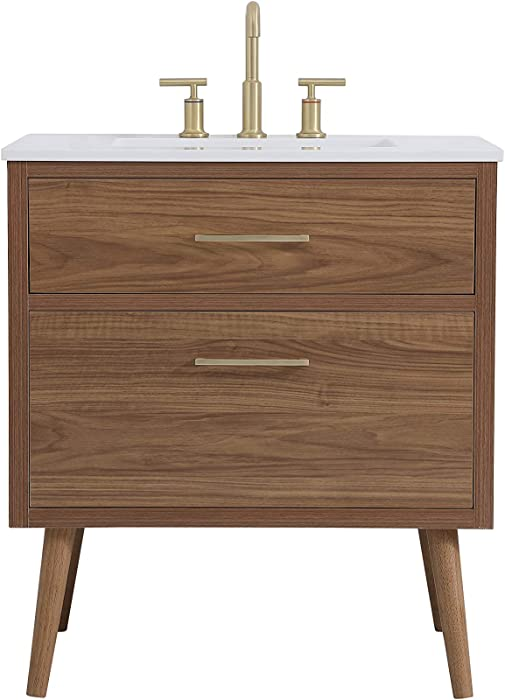 Elegant Decor 30 Inch Bathroom Vanity in Walnut Brown