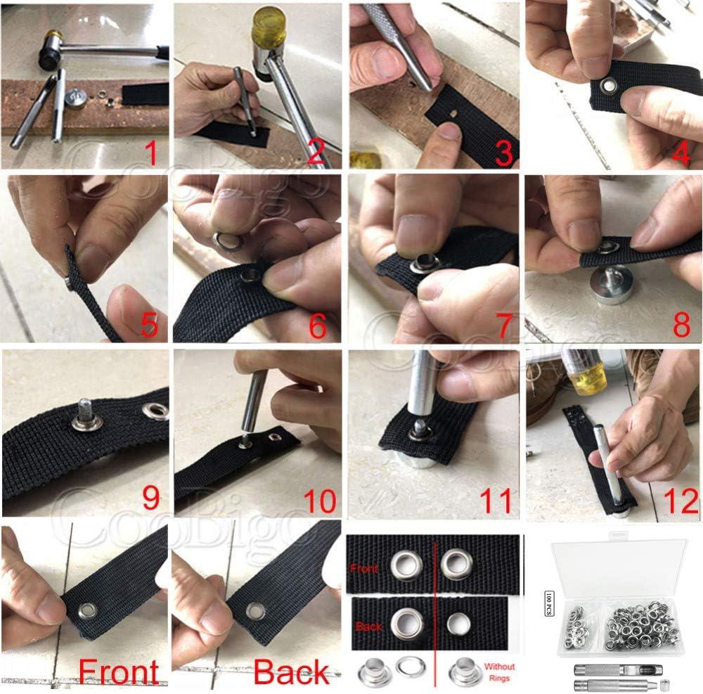 Juego de herramientas de 8 mm arandelas ojales sello de impacto de piel y lonas juego con caja de almacenamiento 0,3 pulgadas ,juego de 100 piezas de herramientas de grommet Grommet