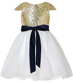 a2184e651e55c Amazon.com  Miama Gold Sequin Ivory Tulle Wedding Flower Girl Dress ...