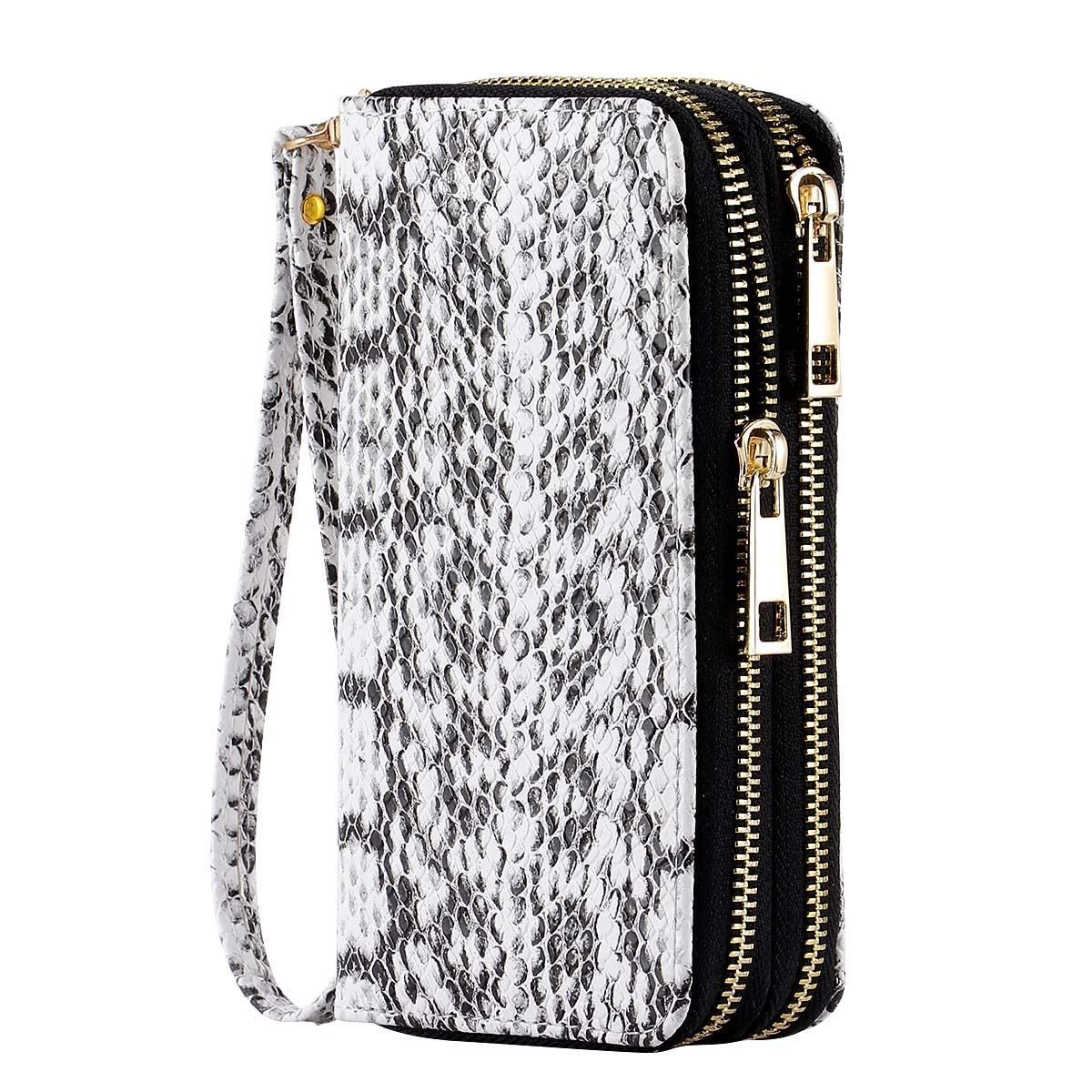 HAWEE Cellphone Wallet Dual Zipper Wristlet Purse with Credit Card Case/Coin Pouch/Smart Phone Pocket Soft Leather for Women or Lady, SnakeSkin White by HAWEE (Image #1)