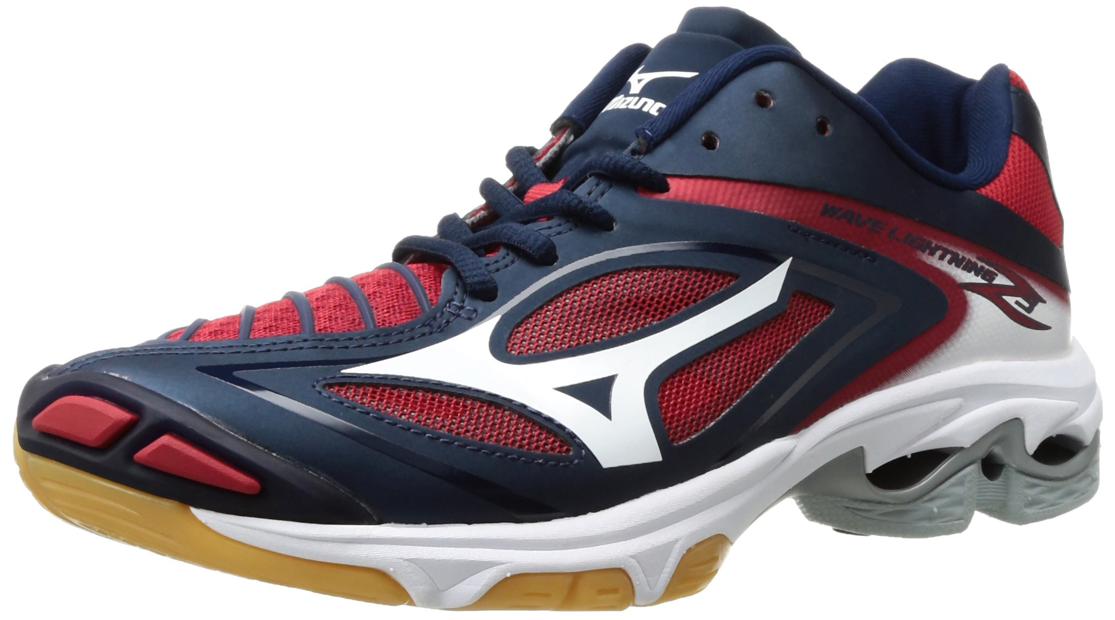 Mizuno Women's Wave Lighting Z3 Volleyball Shoe,Navy/Red,6.5 B US