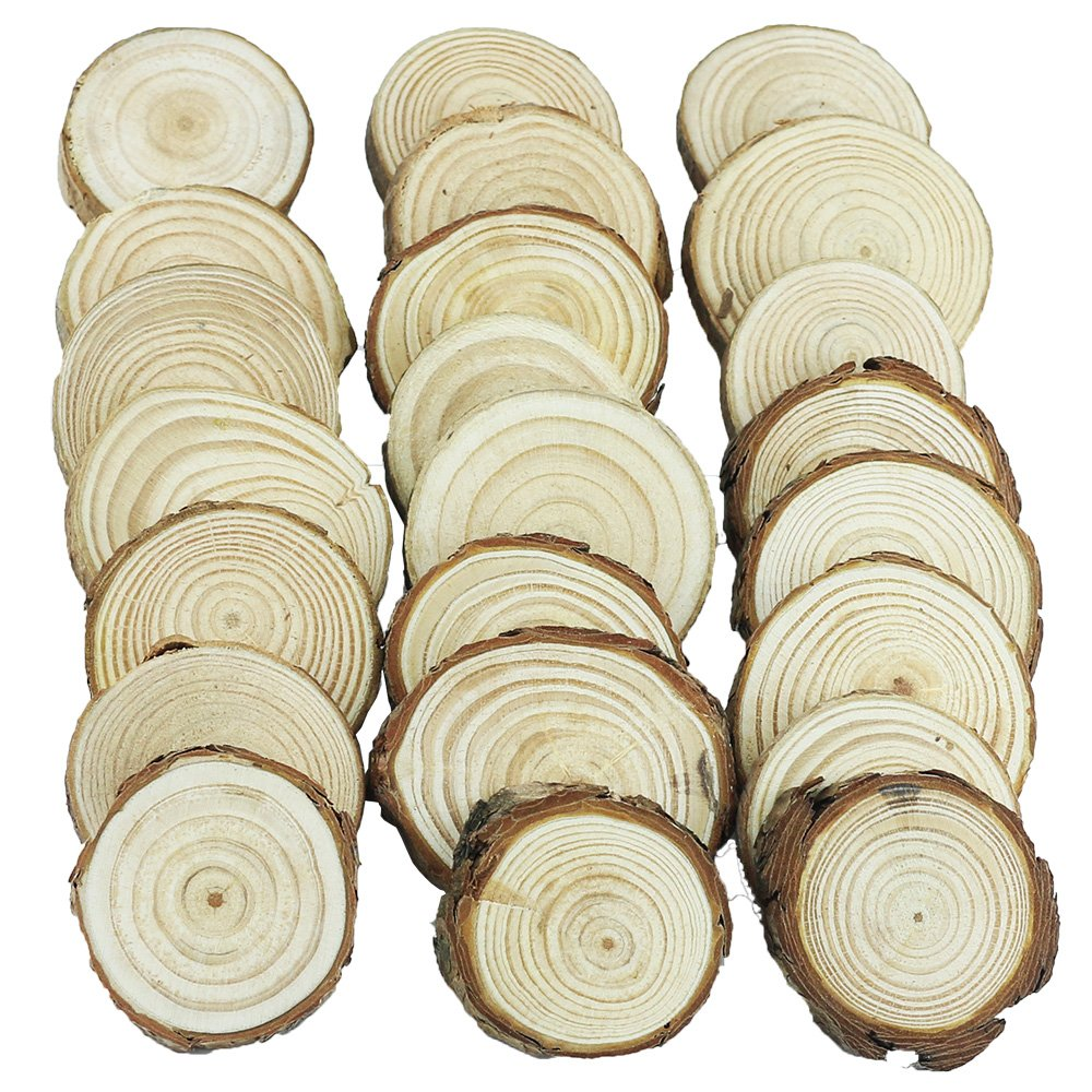 Yexpress Unfinished Natural Thick Wood Slices Circles with Tree Bark Log Discs for DIY Craft Christmas Rustic Wedding Ornaments (3.5-4 Inch) 4336907164