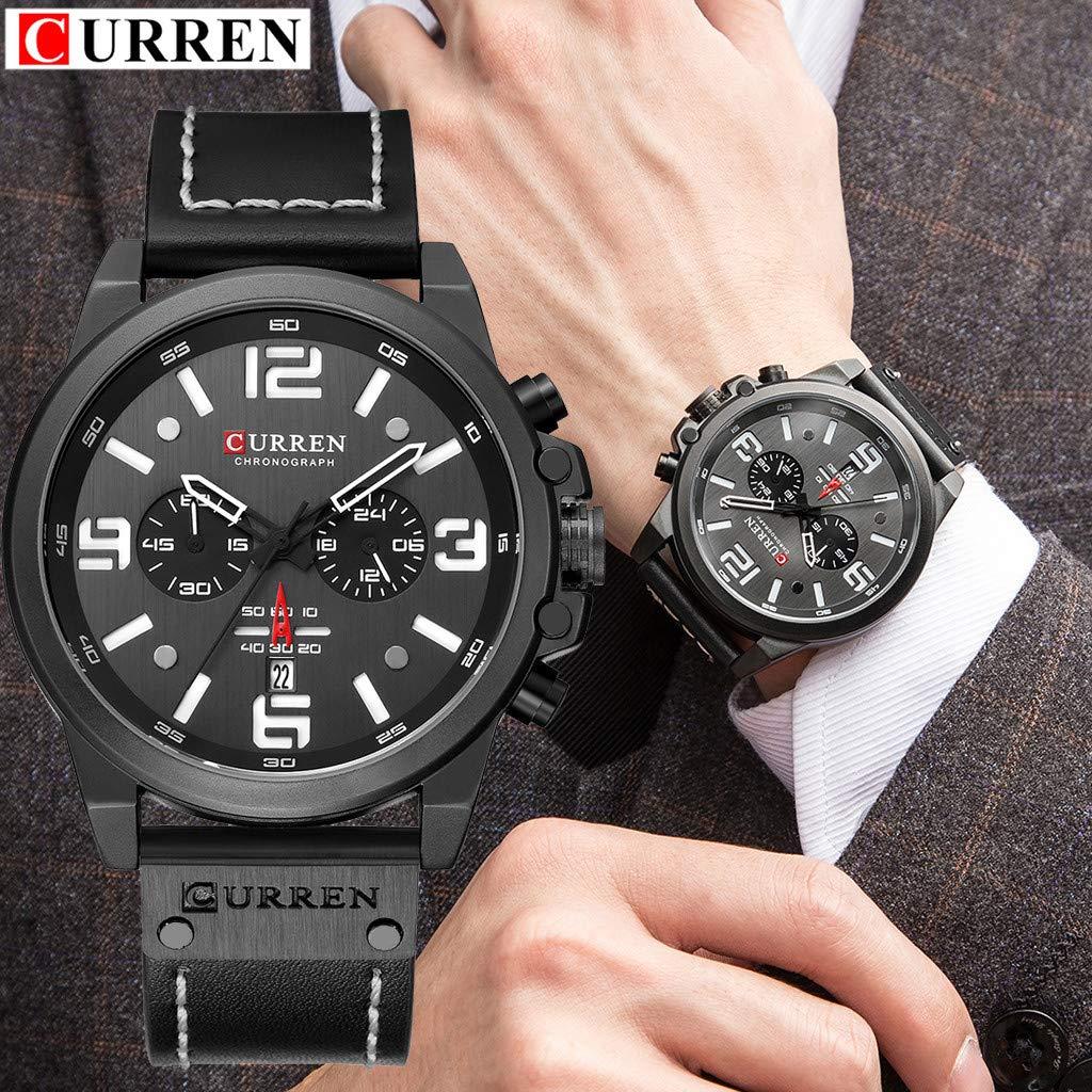 LUXISDE Men's Watches Wrist Watch Mens Watches Sport Waterproof Calendar Leather Chronograph Quartz Watch 10 by LUXISDE (Image #6)