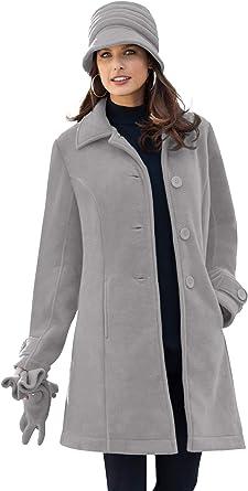 Roamans Womens Plus Size Plush Fleece Jacket Soft Coat