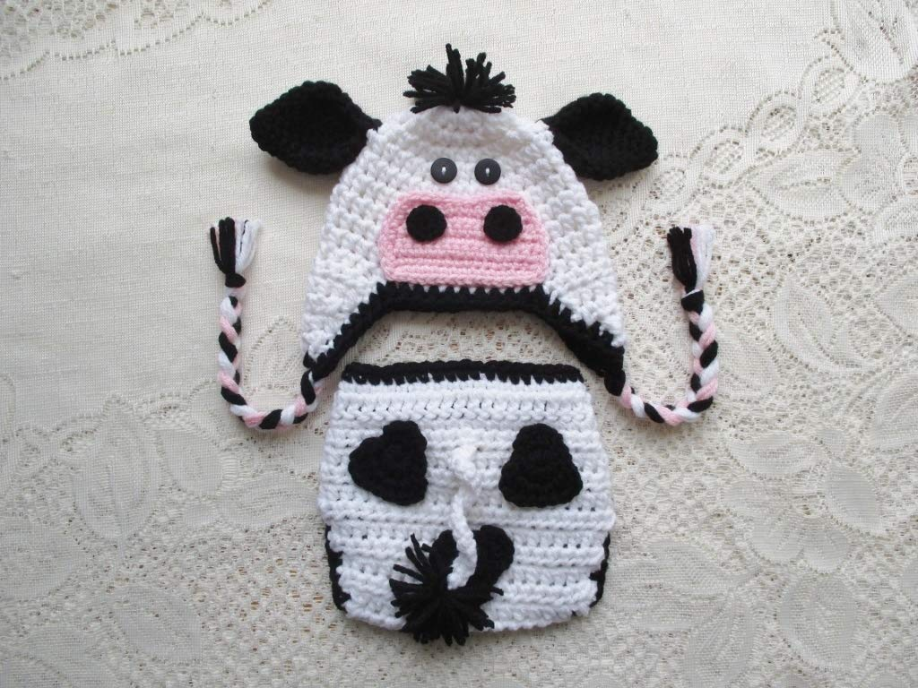 Amazoncom Crochet Baby Cow Hat And Diaper Cover Set Baby Photo