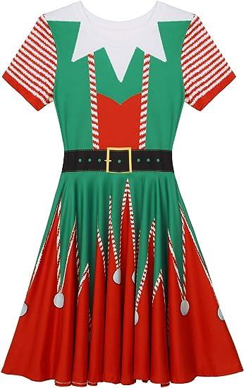 inhzoy Vestido Navidad Elfo para Mujer Vestido Largo Navideño 3D ...