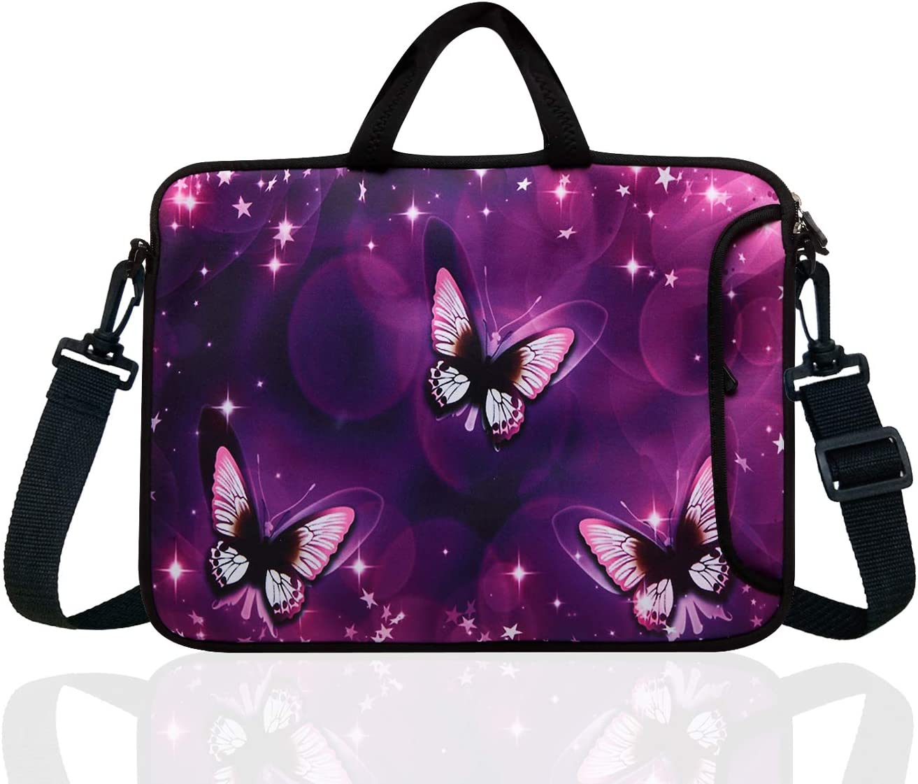 "14-Inch Neoprene Laptop Shoulder Messenger Bag Case Sleeve for 13 13.3 14 14.1"" Inch Notebook/Chromebook (Purple Butterfly)"