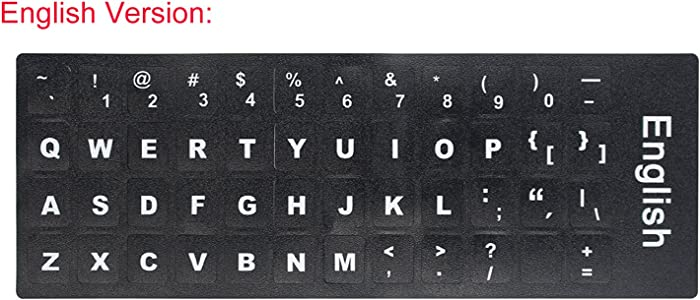 "2 PCS English Keyboard Stickers with Non-Transparent Black Background & White Letters for PC/Computer/Laptop [Size of Each Key Sticker: 0.43"" x 0.51""] (English)"