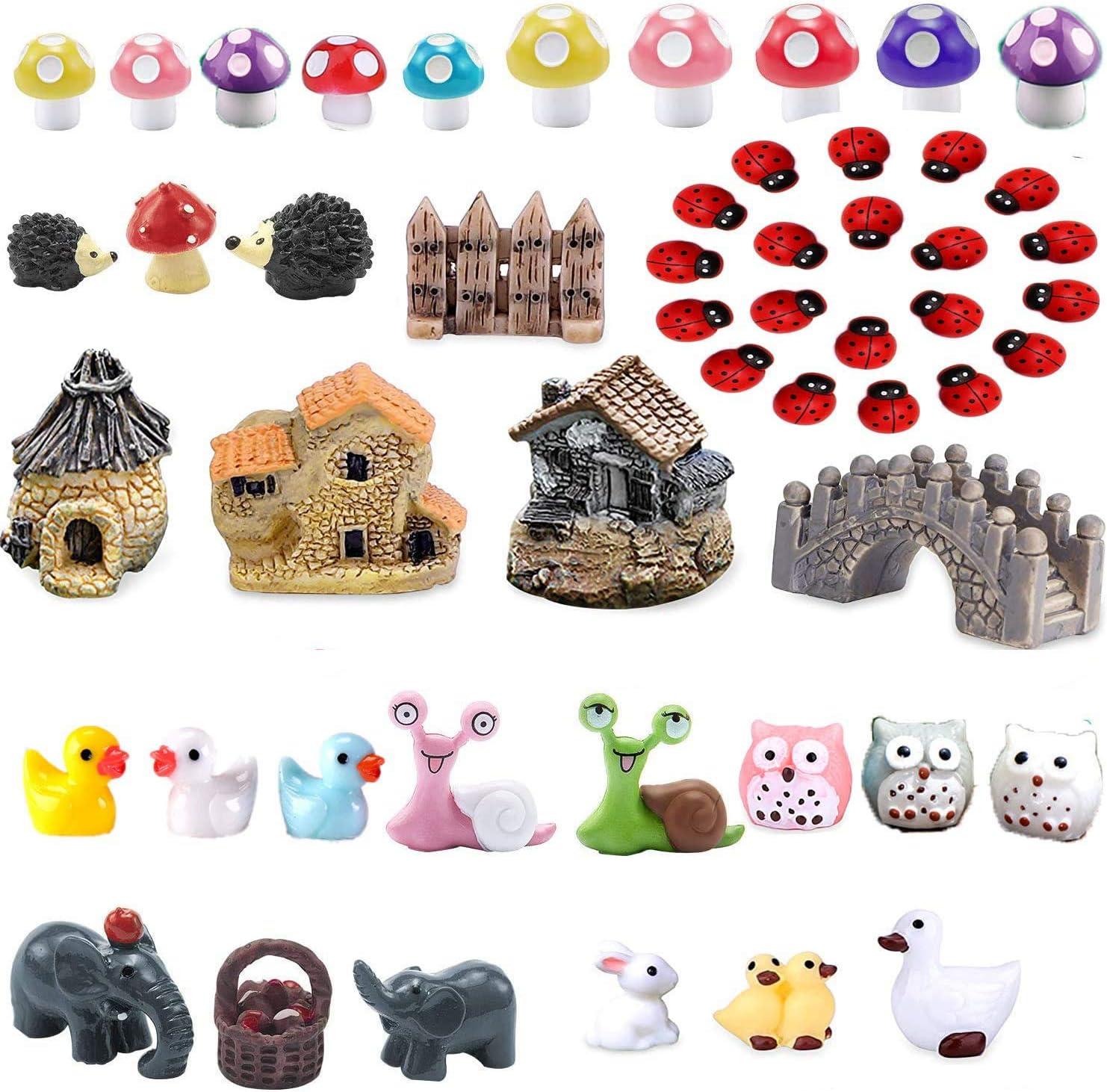 52 Pieces Miniature Fairy Garden Accessories DIY Kit ,Mini Animals Miniature Figurines Craft Dollhouse Plant Decoration (1)