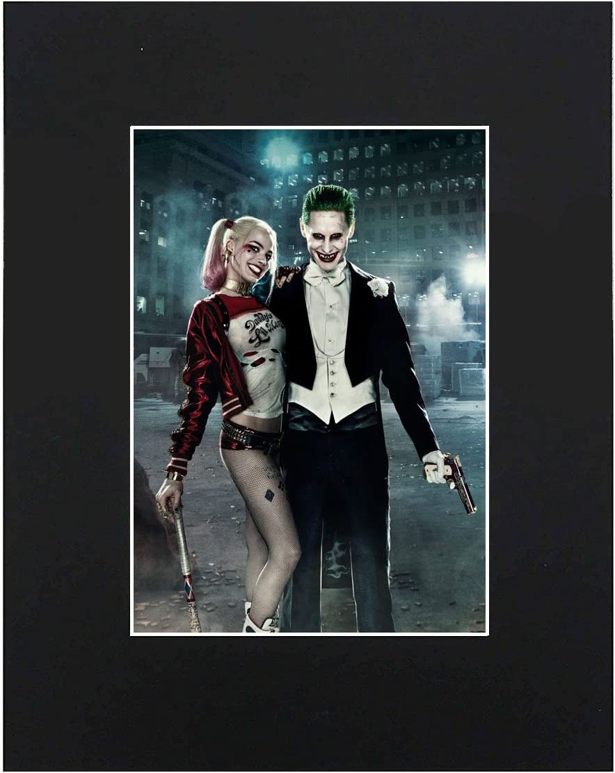 XQArtStudio Joker & Harley Quinn Portrait 8x10 Black Matted Art Artworks Print Paintings Printed Picture Photograph Poster Gift Wall Decor Display