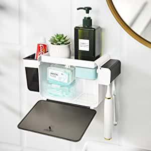 YOHOM Toothbrush Holder Wall Mounted Shower Caddy Bathroom Storage Adhesive with Dustproof Covered Lid Multifunctional Organizer for Toothpaste Razor Comb Toiletry No Drill White Black