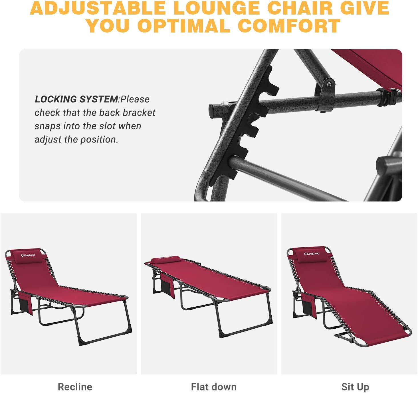 KingCamp 4-Fold Red Folding Outdoor Chaise Lounge Chair for Beach, Sunbathing, Patio, Pool, Lawn, Deck, Portable Lightweight Heavy-Duty Adjustable Camping Reclining Chair with Pillow : Garden & Outdoor