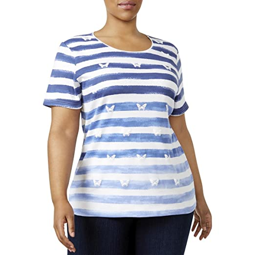 87c1cd6110960 Karen Scott Womens Plus Sunny Daze Printed Ombre-Striped Casual Top Blue 0X