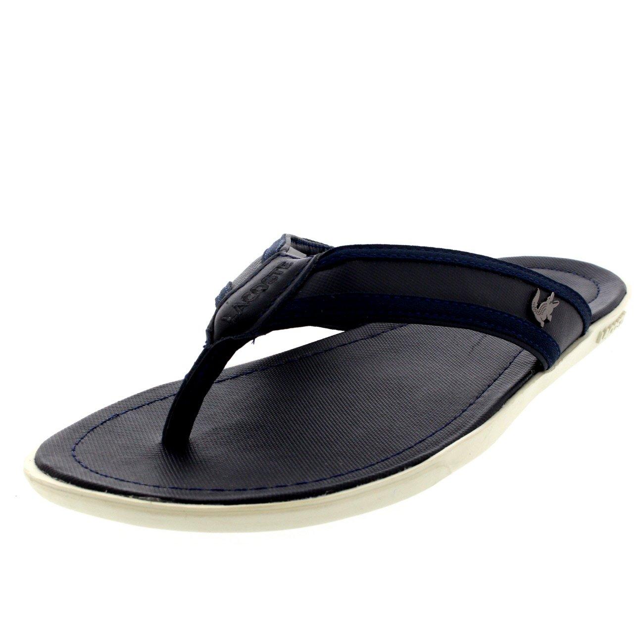 55d06adcfc91 Mens Lacoste Carros 6 Leather Fabric Vacation Flip Flops Beach Sandals -  Dark Blue - 13  Amazon.ca  Shoes   Handbags