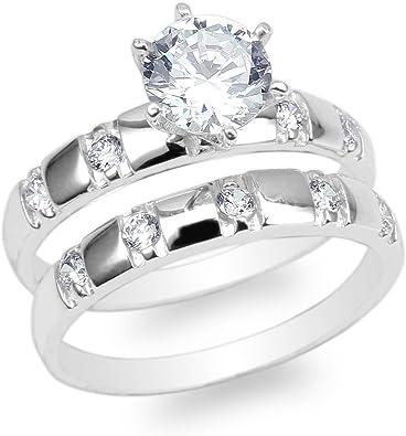 JamesJenny 10K14K White Gold Round CZ Unique Pattern Wedding Solitaire Ring Size 4-10